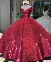 Sparkly Dark Red Quinceanera Dresses Sequins Off the Shoulder Floor Length Sweet 16 Pageant Ball Gown Custom Made Formal Occasion Wear vestidos
