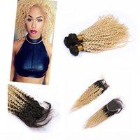 """Paquetes de pelo de Ombre Brasilianos con cierre de 4 """"* 4"""" Onda profunda # 1b # 613 Cosa de la raíz oscura en las extensiones de cabello Remy"""