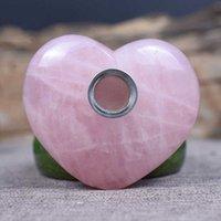 Tubos de fumar 5-6CM HJT Venta al por mayor Tubos de tabaco de corazón caído Pink / Rose Cuarzo Cristal 3 TC54