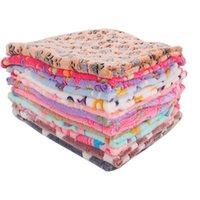 باو طباعة جرو بطانية الحيوانات الأليفة وسادة صغيرة الكلب القط السرير لينة الدافئة النوم حصيرة 4 ألوان 40x60cm