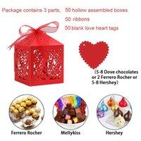 Hediye Paketi 50 ADET Parti Favor Kutusu Şerit ve Boş LoveTag Düğün Dekorasyon Bırak Ile