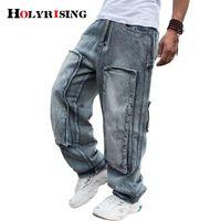 Hombres Jaen Pant Hip-Hop Plus Size Skateboard Pantalones de mezclilla para hombres 34-46 Patch Pantalones de pierna ancha sueltos rectos 19500