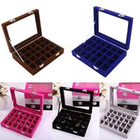 Storage Boxes & Bins 24 Grids Jewelry Earring Necklace Box Velvet Glass Fashion Useful For Girls Empty Case Small Stuff Organizer