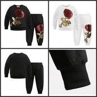 Primavera Outono Meninas Tracksuits Crianças Rose Flor Bordado Casual Sets Kids Sportswear Fashion Girl T-shirt + Calças 2 Pcs Ternos 439 Y2
