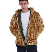 Новая мужская осень зима теплый из искусственного меха леопардовых толстовок с длинным рукавом куртка мужская мода повседневная мех