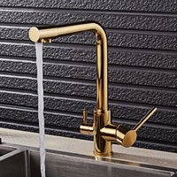 Kitchen Faucets Basin Gold Polished Brass 360 Degree Rotation Sink Faucet Double Handle Water Purification Features