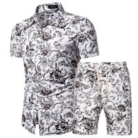 Erkek Yaz Eşofman Hawaiian Çiçek Gömlek + Plaj Şort 2 Parça Set Hızlı Kuru Kısa Kollu Erkek Setleri Ropa Hombre