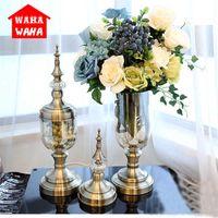 Europeia retro vidro metal liga vaso de ouro mesa moderna casa criativa decorativa flor de flor artificial para casamento