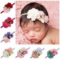 Baby Chiffon Rose Blume Stirnbänder Stirnband Schöne Elastizität Kinder Mädchen Elegante Perle Haarband Kinder Haarschmuck Headwear