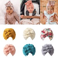 2021 Folds Knotted Bow Indian Turban Baby Knitted Hat Newborn Infant Kids Boy Girl Turban Flral Beanie Hat Soft Caps Headwear