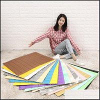 Stickers Décor & Garden6Pcs 3D Tile Brick Foam Wall Sticker For Living Room Bedroom Xpe Thicken Self-Adhesive Wallpaper Home Decor Anti Hurt