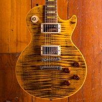 드문 조 페리 Boneyard 1959 블랙 노란색 일렉트릭 기타 타이거 불꽃 메이플 탑, 빈티지 사다리꼴 걸레 인레이, Tuilp 튜너, Bone238