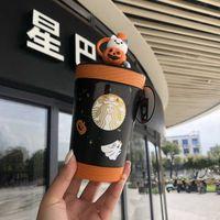 Starbucks Halloween Black Cat Bear Orange Pumpkin Bag Drag Ghost Glass Straw Warm Mug Gift Box