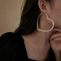Hoop & Huggie Big Heart Earrings Fashion Elegant Crystal Drop Dangle Earring Trendy Shiny Rhinestone Ear Decor Wedding Party Jewelry Gift