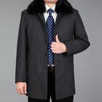 Men's Wool & Blends 2021 Arrival Men Coat Winter Blend Real Fur Autumn Woolen Long Coats Jacket Male Pea Thick M-4XL