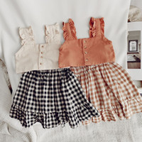SK ins лето дети маленькие девочки костюмы без рукавов цветочные ремня Tees + шорты платья 2 чашки наряды хлопок жилет Bountique одежда