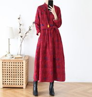 Casual Dresses Cotton Linen Winter Women Chinese Dress Vintage Ethic Robes Stand Collar Long Sleeve Button Printed Loose