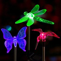 Multicolor led Solar Stake Lights Outdoor Lamps Dragonfly Butterfly Bird Lawn Outdoors Garden Lawns Landscape Pathway Light