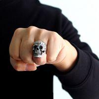 Antike Silber Farbe Evil Skeleton Schädel Ring für Männer Chunky Edelstahl Punk Rock Skeleton Ring Schmuck Für Männliche Großhandel