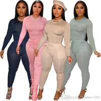 Sportswear Ladies 2 Piece Set Women Tracksuits Designers Leisure Pocket Drawstring Outfits Solid Color Jogger Outfits