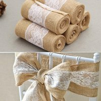 245cm* 15cm Burlap Hessian Ribbon with Lace Sashes for Wedding Craft Party Decoration