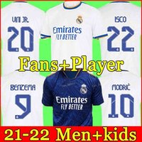 Jersey Real Madrid 21 22 Chemises de football de football Hazard Alaba Benzema Asensio Moduric Marcelo Camiseta Hommes + Kids Kit 2021 2022 Uniformes Quatrième