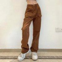 Kadın Kot Vintage Baggy Kahverengi Kadın Streetwear Gevşek Yüksek Bel Pantolon Geniş Bacak Pamuk Denim Sweatpants Ön Cep Yaz