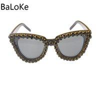 Óculos de sol enorme quadro de cristal de cateye mulheres na moda moda senhoras retrô sol óculos óculos sexy