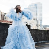Casual Dresses Designer Women's Summer For Poshooting Sky Blue Formal Party Dress Open Front Bridal Dressing Gown Maternity Robes