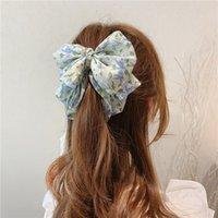 Coréen style coiffure douce clip vertical mignon mousseline de mousseline de soie florale floral clip banana pontail support femme accessoires de cheveux femmes