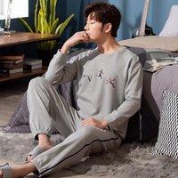 Мужские пижамы Wavmit Pajamas осень зима с длинным рукавом 100% хлопок плюс размер 4xL 5XL мужчин Pajamas наборы отца нихет