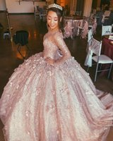 Amazing Rose Gold Long Sleeves 3D Flower Quinceanera Prom Dress Ball Gown Beaded Illusion Evening Formal Gowns Sweet 16 Vestidos