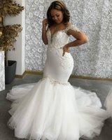 2021 Sexy Lace Silver Crystals Mermaid Wedding Dresses Off Shoulder Arabic Aso Ebi Style Bridal Party Gowns Vestidos De Novia Sweep Train Hollow Back Plus Size