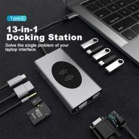 USB Type C Hub متعدد الواجهة مع HDMI RJ45 VGA شحنة لاسلكية قارئ بطاقة SD USB-C Type-C Platter الكمبيوتر المحمول الملحقات HUB3.0 محطة الإرساء ل MacBook Pro