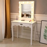 침실 가구 Nordic 간단한 소녀 메이크업 드레서 FCH 관대 한 거울 단일 펌핑 발 전구 따뜻한 드레싱 테이블 화이트