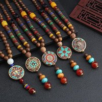 Pendant Necklaces Vintage Ethnic Wood Beaded For Women Lotus Buddha Statue Nepalese Mantra Wooden Sweater Chain Lucky Jewelry