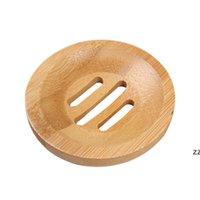 Natural Bambu Soap Pratos Titular Mini Portátil Proteção Ambiental Sabonetes Sabonetes Armazenamento Caixas de Armazenamento Casa de banho Acessórios 8cm HWF8375