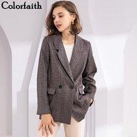 Женские костюмы Blazers ColorFaith 2021 осень зима плед двойные погружные карманы формальные куртки зарезанные верхние одежды JK7113