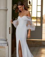 Белый пляж Boho русалка свадебные платья 2021 с прозрачными рукавами Дубай арабские свадебные платья Pliats сторона разделить пользовательский тюленый атлас