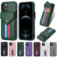 Business Card Slots Phone Cases For iPhone 12 mini 11 Pro Max XR XS 7 8 plus Premium PU Leather Soft TPU Full Protection Shockproof Back Cover