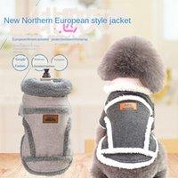 Roupa vestuário roupas inverno nórdico engrossado algodão jaqueta de veludo animal de estimação perna