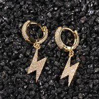 Mens Gold Blitz Ohrringe Neue Mode Hip Hop Ohrringe Schmuck Damen Silber Blitz Baumeln Hoop Ohrringe