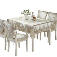Европа стиль роскошный комфортный скатерть кружева край пылезащитные чехлы для стула крышка домой ткани высокое качество 210626