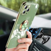 Electroplated Magnetic Ring Holder Phone Case For iPhone 12 11 Pro Max XS XR X 7 8 Plus SE2 Glossy Soft Silicone Cover