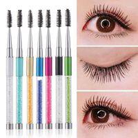 Eyebrow Brushes Mascara Spiral Wand applicator with rhinestone handle eyeLash Extension Combs Eye makeup Tools 10 Colors 10pcs a opp bags