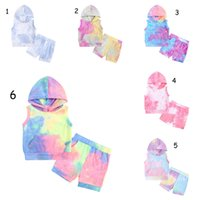 Baby Boy Girl Clothe Set Tie Dye Hoodie Shorts Suit 2 PCS Ins Summer Sports Sleeveless With Pocket Boutique Clothing Outfit