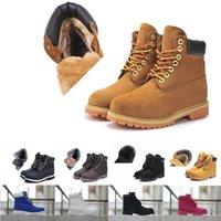 Neue klassische mann stiefel land premium pelz warn winter camo weizen nubuk gelb schwarz braun wasserdichter outdoor boot größe 36-46 frauen rot blau rosa