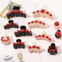 Hair Accessories Elegance Round Red Pearl Clips For Women Girls Claw Chic Barrettes Crab Hairpins Styling Fashion