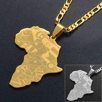 Colliers Pendentifs Anniyo Sier Couleur / Or Couleur Afrique Carte avec Pendentif Pendentif Chain African Cartes Bijoux pour Femmes Hommes # 035321P