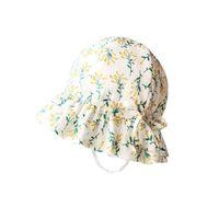Caps & Hats J2FF Baby Cotton Floral Printing Sun Hat Infant Wide Brimmed Bonnet Born Pograpy Props